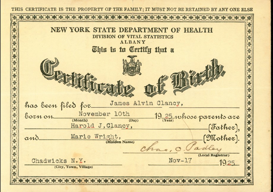 Documents Chmw01 Birth Certificate James Alvin Clancy Clancy By